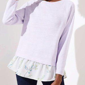 LOFT Floral Mixed Media Sweatshirt - L